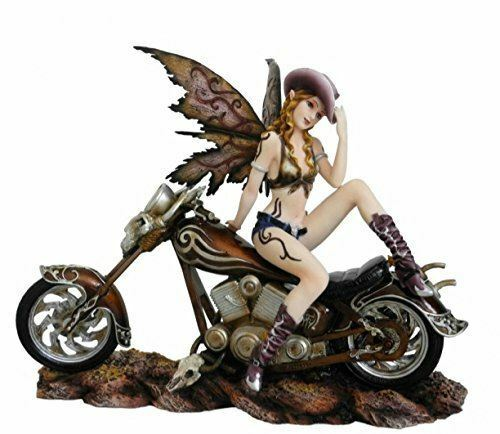 Large Sexy Tattooed Fairy Rider on Motorbike Figurine Statue Ornament