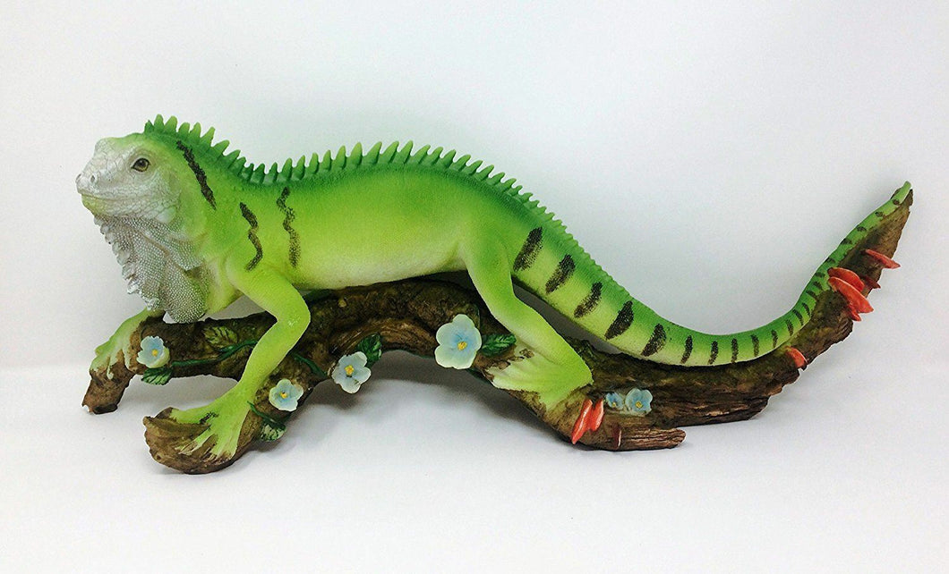 Novelty Extra Large Realistic Effect Iguana Resting on Branch Figurine Statue
