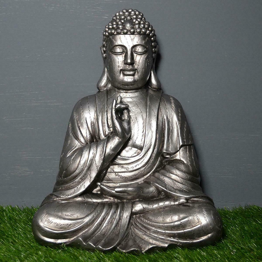 Large Buddha Silver Statue Spiritual Sculpture Buddhist Gift Ornament