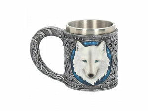White Wolf Tankard Medieval Style Drinking Cup Ornament Home Kitchen Decoration