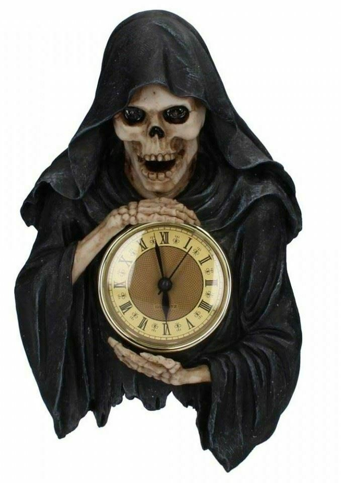 Grim Reaper Wall Clock Figurine Ornament Darkest Hour Gothic Pagan Occult