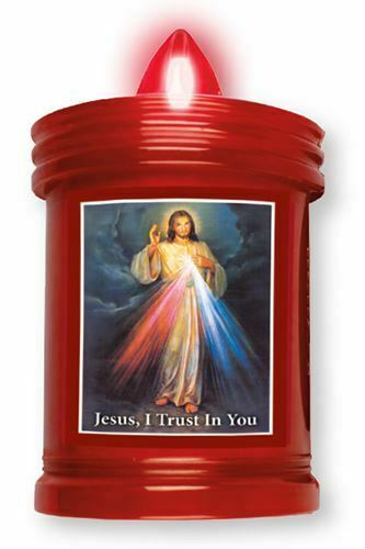 LED Grave Candle Memorial Light Divine Mercy Jesus I trust in you