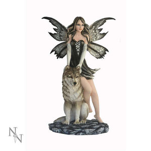 Large Fairy with Wolf Companion Figurine Statue Sculpture Ornament