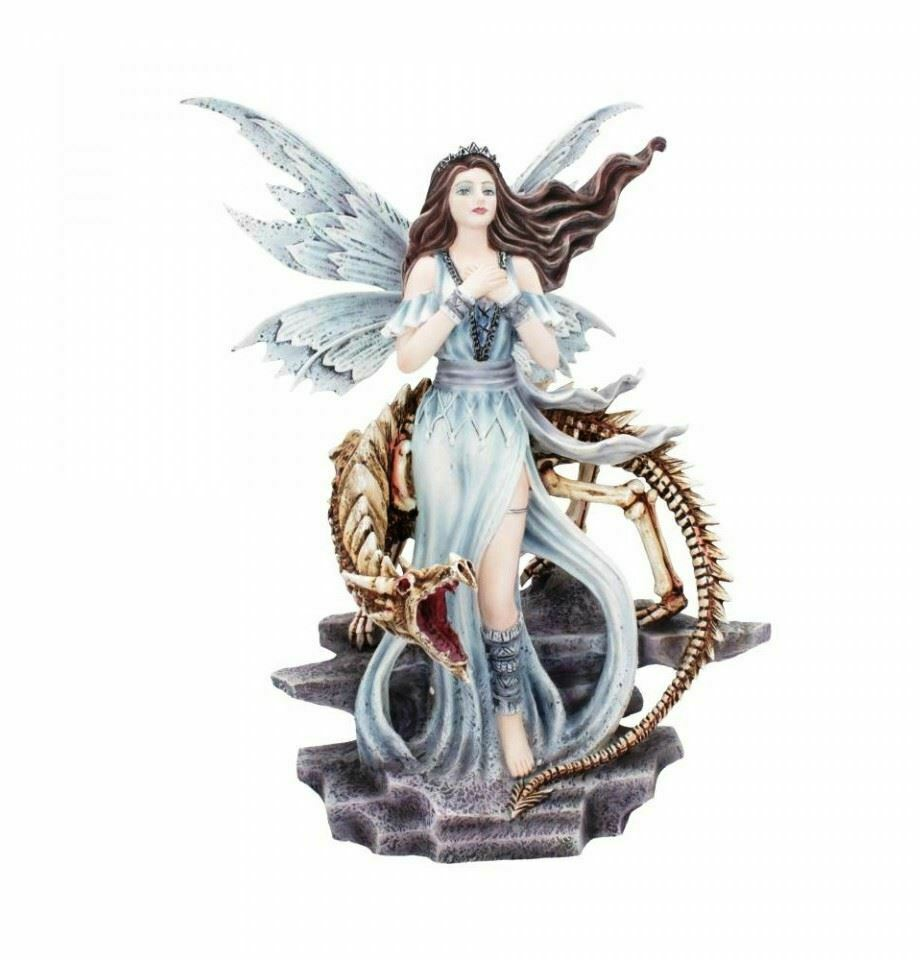 Novelty Dark Fairy with Dragon Skeleton Companion Statue Sculpture Ornament
