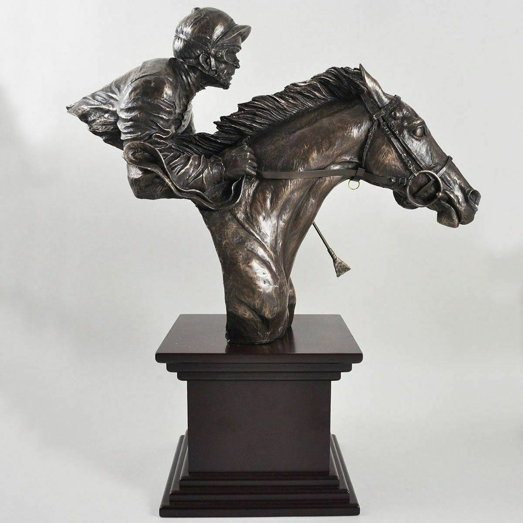 Bronze Sculpture Horse and Jockey Racing Figurine on Base Statue Ornament