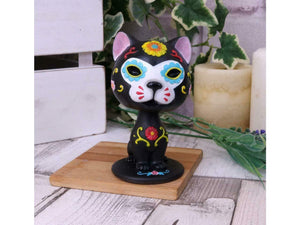 Sugar Skull Cat Bobblehead Figurine Statue Sculpture