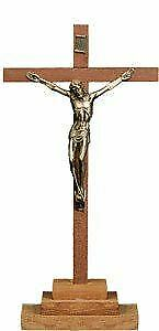 Wooden Freestanding Crucifix Cross Brass Corpus Religious Ornament