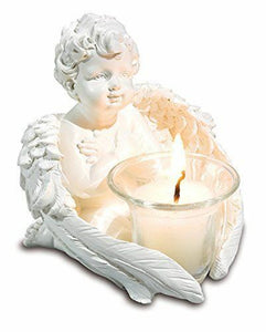 Set of White Cherub Sitting Around a Candle Holder
