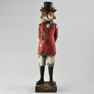 Hunting Fox Statue Vintage Novelty Decor Steampunk Fantasy Dapper Animals