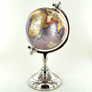 Antique Effect World Atlas Globe Ornament Vintage Globes on Stand Decoration