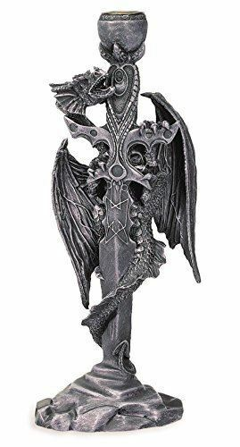 Stone Effect Dragon Wrapped Around Mystic Sword Candle Holder Fantasy Art