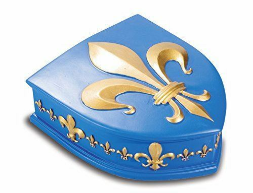 Medieval Style Knight Templar Fleur de Lys Blue and Gold Shield Trinket Box