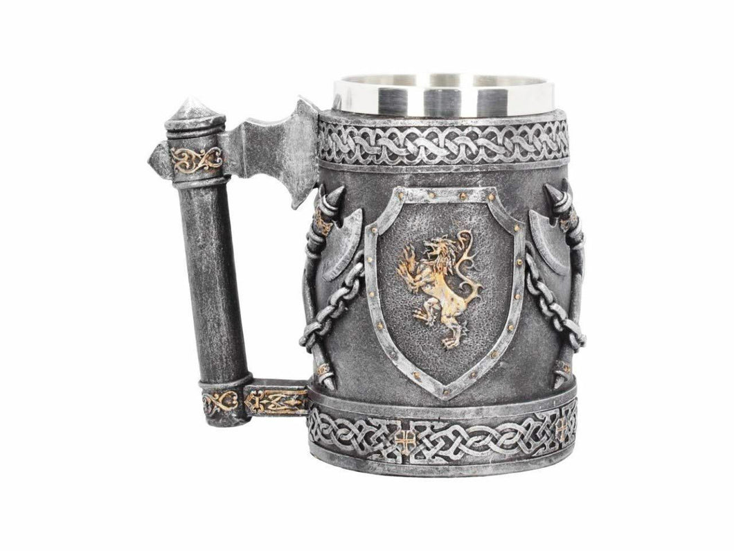 Medieval Style Lion Sigil Tankard Mug Stein Drinking Cup Home Decoration