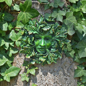 Green Man Green Spirit Garden Wall Plaque Sculpture Wiccan Pagan Decor
