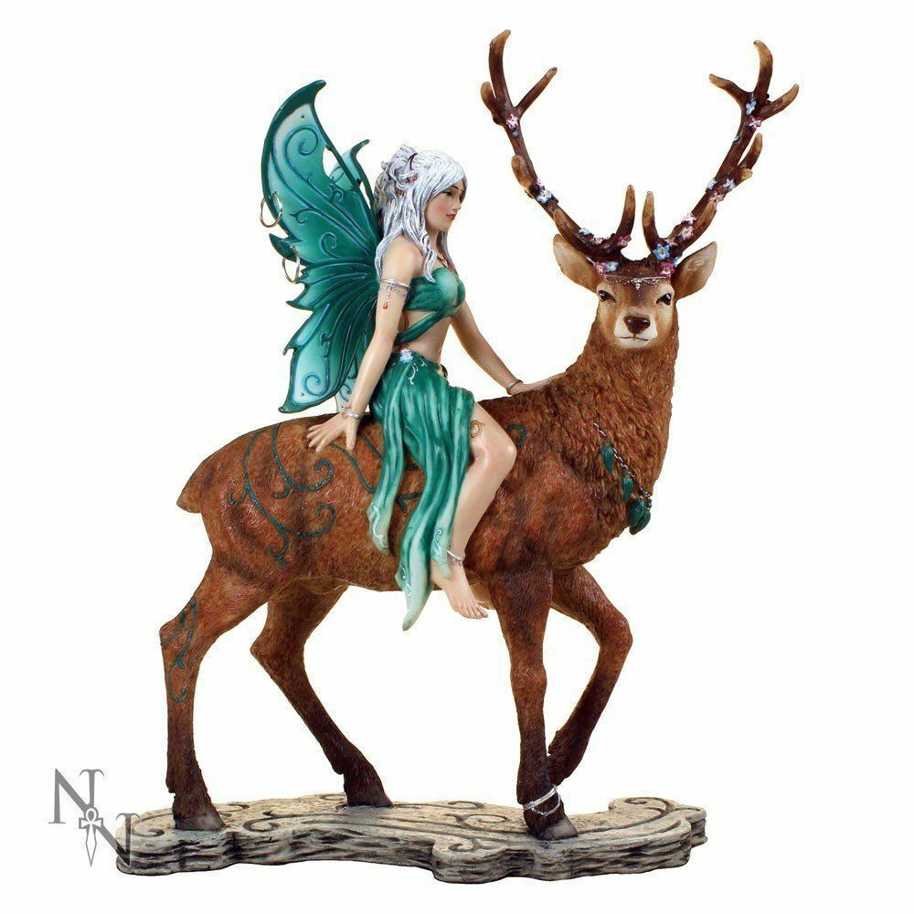 Novelty Fairy Riding Companion Stag Sculpture Fantasy Figurine Faerie Sculpture