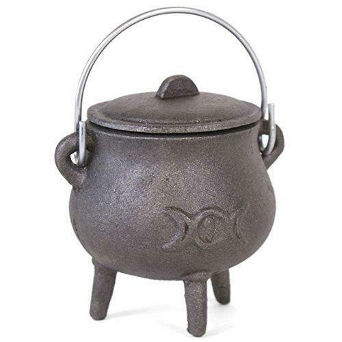 Cast Iron Cauldron Triple Moon Goddess Wiccan Pagan Altar