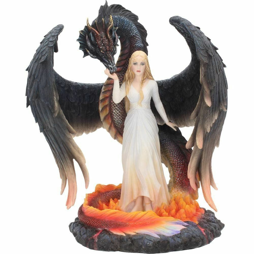 Novelty Maiden of Fantasy and Dragon Sculpture Statue Ornament
