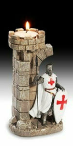 Templar Knight with Spear Candle Holder Figurine Statue Crusader Ornament