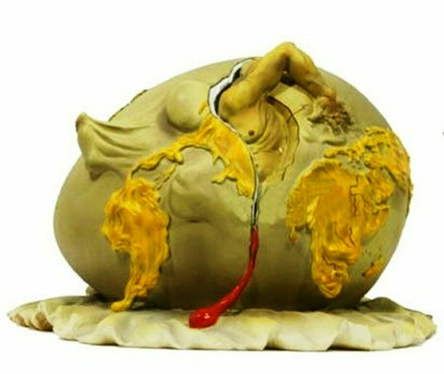 ART SCULPTURE SALVADOR DALI THE GEOPOLITICAL CHILD BIRTH OF THE NEW HUMAN