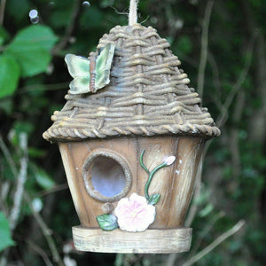 Decorative Bird House with Hanging Rope Wicker Roof Fun Garden Decor Height 17cm