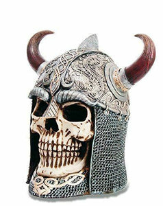 Horned Viking Skull Figurine Ornament Sculpture Statue