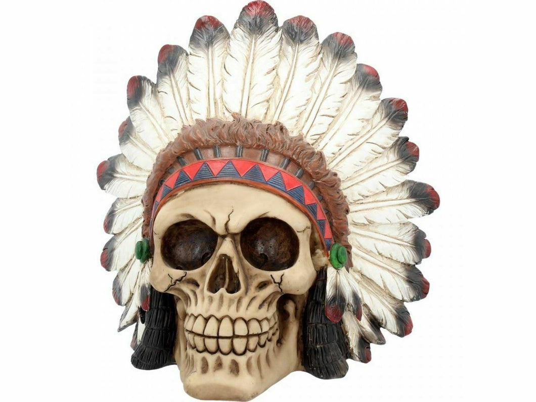 Large Native American Chief Skull Sculpture Statue Ornament Figure 20cm