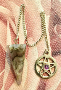 Amethyst Pentagram Pendulum Dowser Divination Protection Fortune Telling