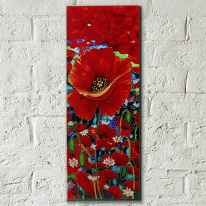 "Blazing Red by Simon Bull Decorative Ceramic Picture Tile 4x12"" Home Decor"