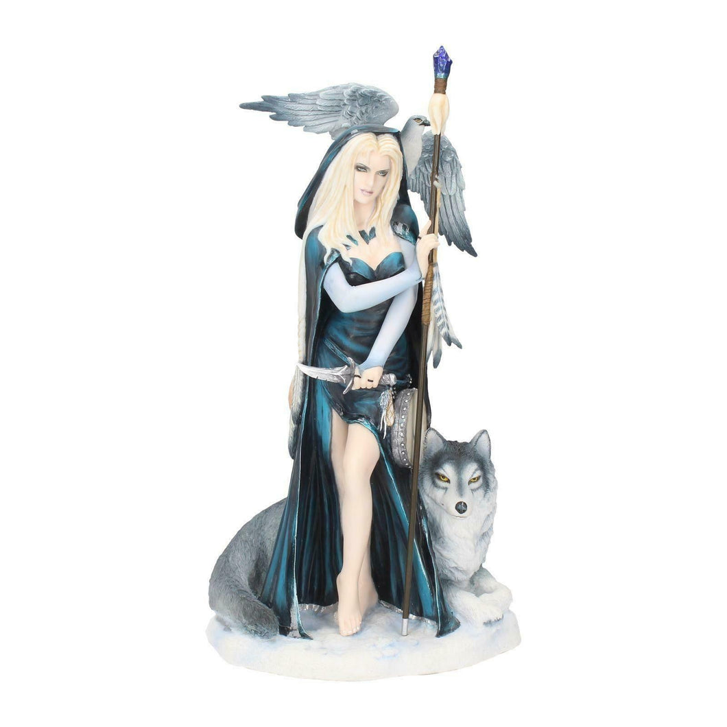 Winter Fairy Shaman with Wolf Sculpture Statue Ornament Figure Gift Idea