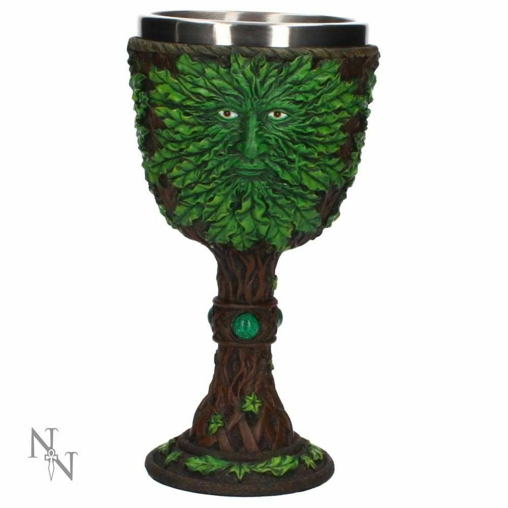 Green Man Heart of the Forest Wine Goblet Wicca Pagan Green Man 19cm