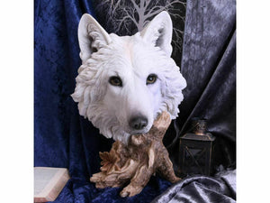 Winter Wolf Bust Figurine Sculpture Ornament Fantasy Collector Wolves Gift 27cm