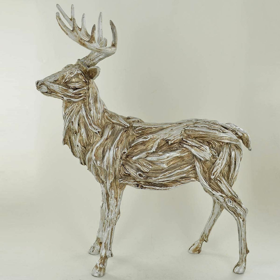 Winter Deer Standing Stag Abstract Sculpture Statue Ornament