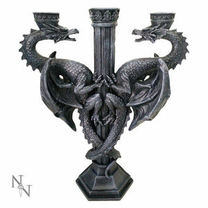 Nemesis Now Dragon's Altar Black Candle Holder Candelabra Gothic Decor