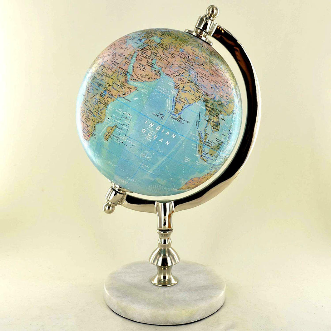 Antique Effect World Atlas Globe Ornament Vintage Globes on Stand Marble