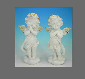 Pair of Guardian Angel Figurine Cherubs  Statue Ornament Sculptures Gift