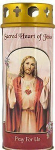 Sacred Heart of Jesus Pillar Candle with Gold Foil Highlights Graveyard Candle