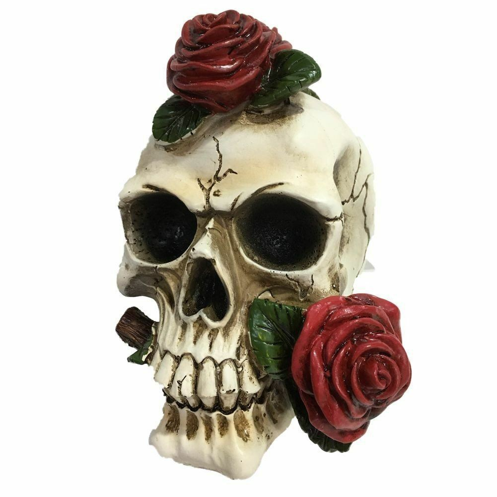 Gothic Rose Skull Ornament Figure Figurine