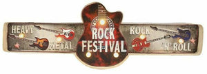 Vintage Metal 3D LED Music Rock Guitar Music Logo Sign Man Cave Wall Plaque