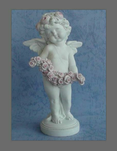 Guardian Angel Figurine Cherub Holding Flowers Statue Ornament Sculpture Gift