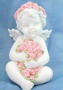 Guardian Angel Figurine Cherub Statue Holding Roses Ornament Sculpture Gift