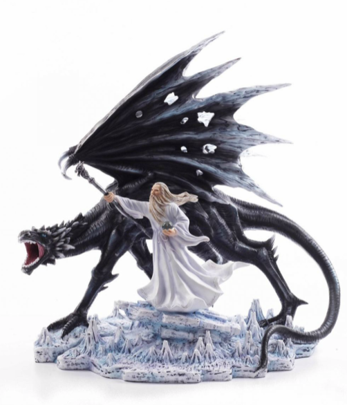 Large Dragon and Wizard Fantasy Sculpture Mythical Statue Ornament Gothic Gift