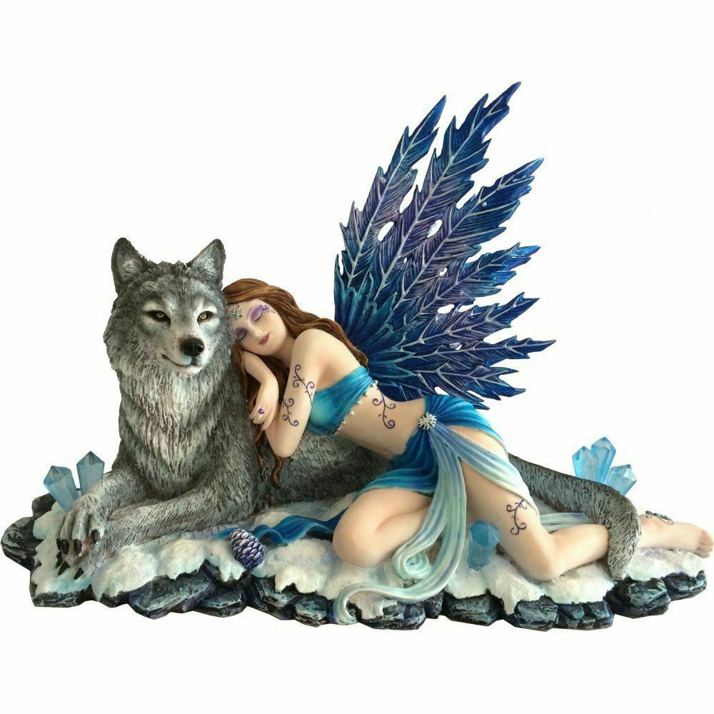 Beautiful Fairy Resting on Wolf Statue Sculpture Magical Figurine Ornament