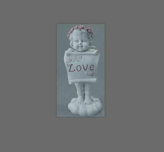Guardian Angel Figurine Cherub Holding Love Sign Statue Ornament Sculpture Gift