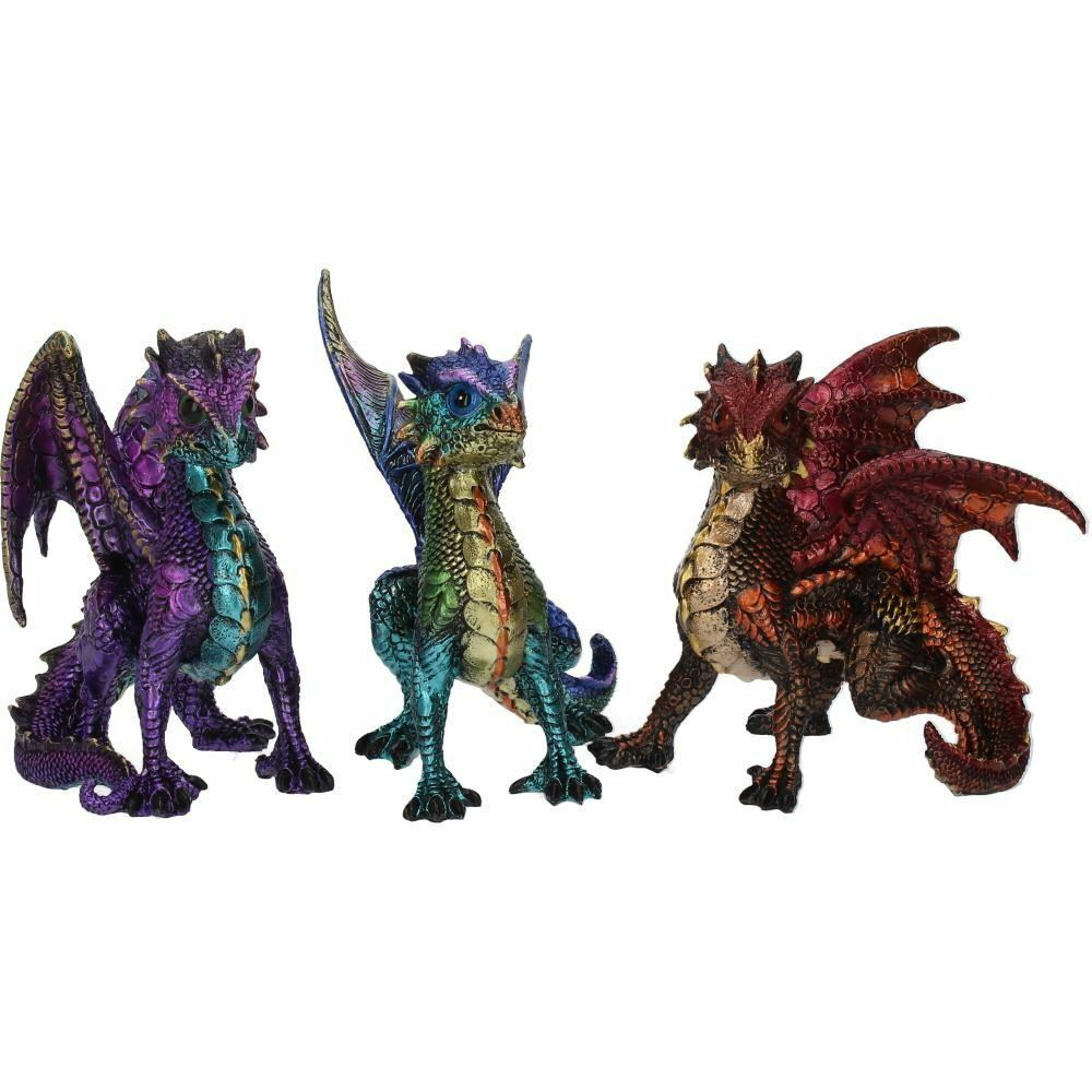 Set of 3 Dragon Ornaments Figurines Home Office Decorations or Gothic Gifts