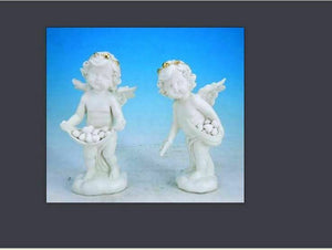 Pair of Guardian Angel Figurine Cherubs Holding Hearts Statue Ornament Sculpture