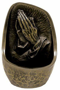 Bronze Finish Praying Hands Holy Water Font Religious Gift Florentine Ornament