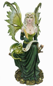 Large Fairy and Dragon Companion Sculpture Statue Mythical Creatures Figure Gift