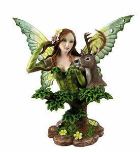 Large Fairy and Stag Companion Sculpture Statue Mythical Creatures Figure Gift