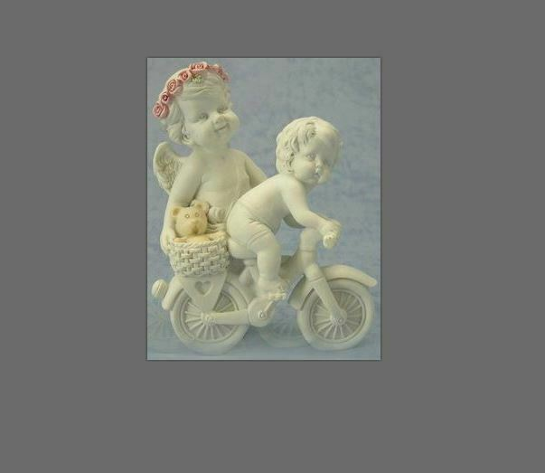 Guardian Angel Figurine Cherub Riding Bike Statue Ornament Sculpture Gift