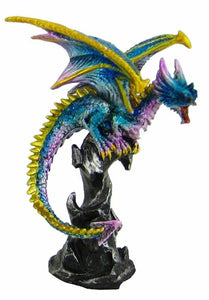 Small Blue Dragon Sat on the Rocks Ornament Figurine Home Decoration